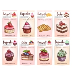 Cafe desserts menu sketched cupcakes cakes tags vector