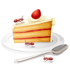 Cake and ants vector image