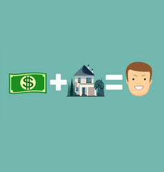 concept of money and home make you happy vector image