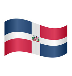 Dominican republic flag waving on white background vector