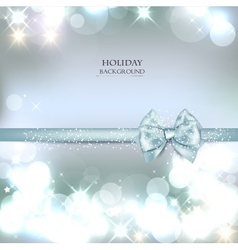 Elegant Christmas background with blue bow and vector image vector image