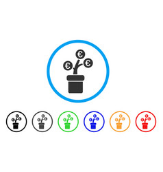 euro tree pot rounded icon vector image vector image