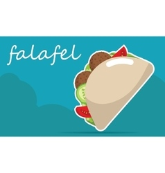 Falafel stuffed pita with vegetables vector