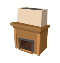 Fireplace cartoon icon vector