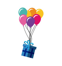 Gift box and colorful balloons vector