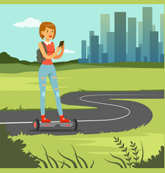 Girl girl with phone riding on gyroscope on city vector