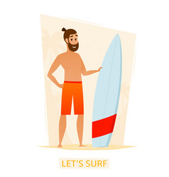 Happy surfer with surf board on the beach vector