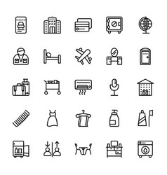 Hotel line icons 10 vector