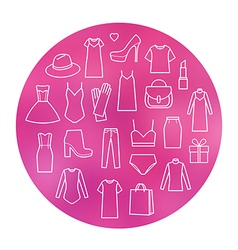 Icons set of fashion vector