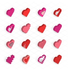 isometric hearts icons set vector image