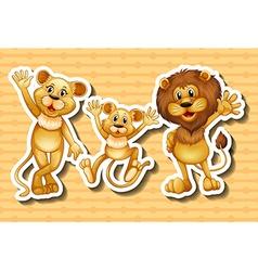 Lion family on orange background vector