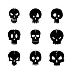 Monochrome set of skulls icon vector
