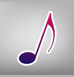 Music note sign purple gradient icon on vector