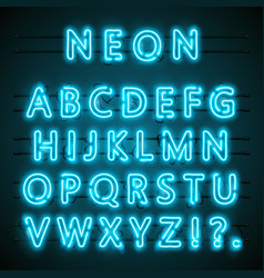 neon font text blue english lamp alphabet vector image