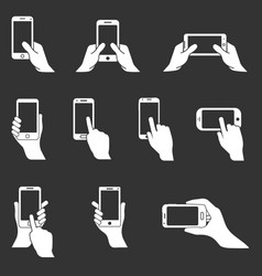 phone in hand icons hands holding smartphone vector image