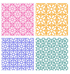 Seamless floral pattern in korean stencil style vector