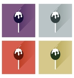 Set flat icons with long shadow baked apple vector