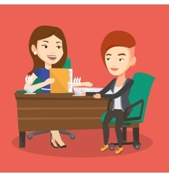 Two businesswomen during business meeting vector image vector image