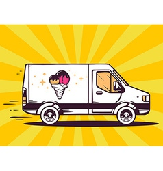 Van free and fast delivering ice cream to vector