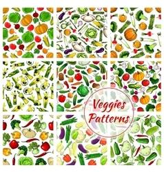 Veggies vegetables seamless patterns set vector image vector image
