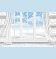 View of the winter landscape through the window vector