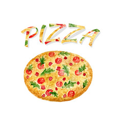 Watercolor pizza isolated hand paint artwork vector