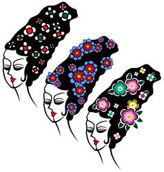 Woman flower hair vector