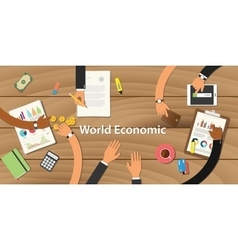 World economic form with team work vector