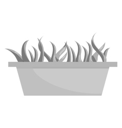 Wooden pot with grass icon black monochrome style vector