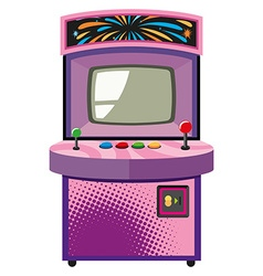 Arcade game machine in purple box vector