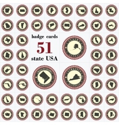 Vintage badge cards of state usa vector