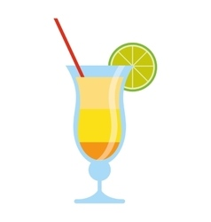 cocktail drink lemon straw traditional brazil vector image