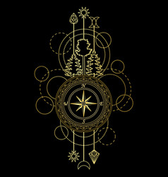Gold compass symbol vector