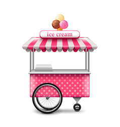 Ice cream cart isolated on white vector