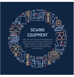 Sewing equipment hand made supplies banner vector