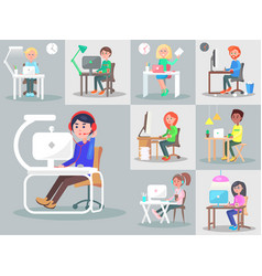 Office workers at the workplace flat set vector