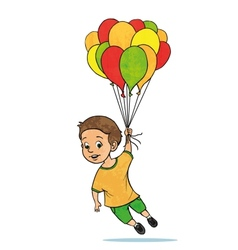 Young boy flying with balloons cartoon vector