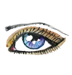 Watercolor hand drawn eye make up vector
