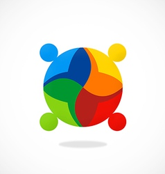 Diversity people teamwork color logo vector