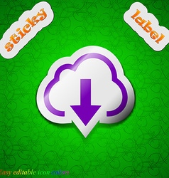Download from cloud icon sign symbol chic colored vector