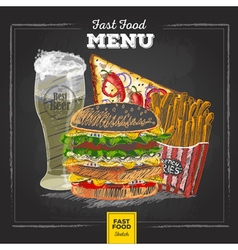 Vintage chalk drawing fast food menu vector image