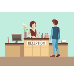 Customer at reception concept in flat vector