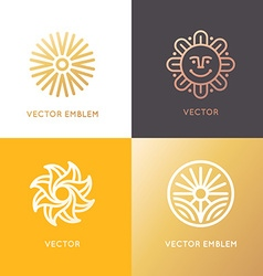 Abstract logo design template in trendy linear vector