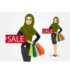 Arabic woman with shopping bags vector