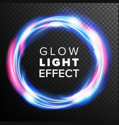 blue circles glow light effect swirl trail vector image