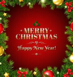 Christmas fir tree frame with holly berry vector