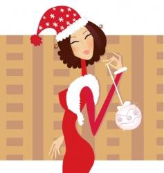 Christmas santa woman vector image