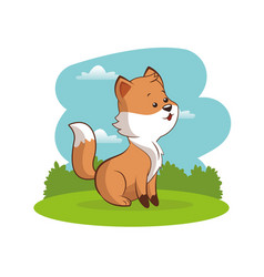 Cute fox animal baby with landscape vector