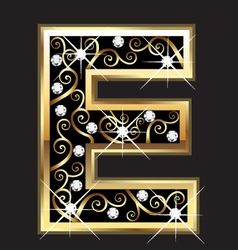 E gold letter with swirly ornaments vector image vector image