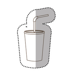 Figure drinks soda with flat icon vector